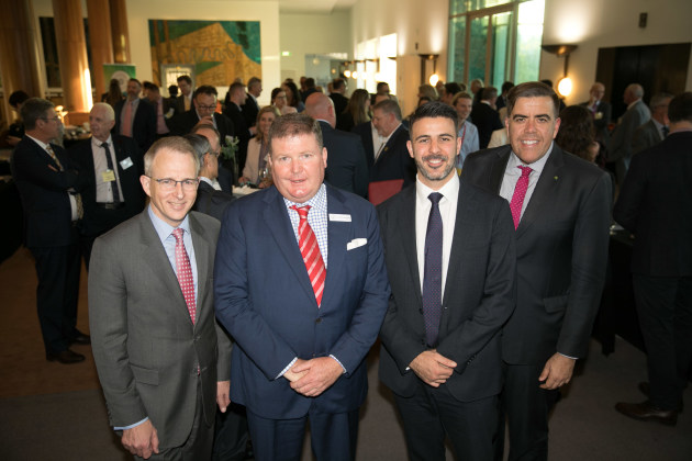 Printer and politicians: (l-r) Paul Fletcher, Andrew Macaulay, Steve Assimo and Milton Dick
