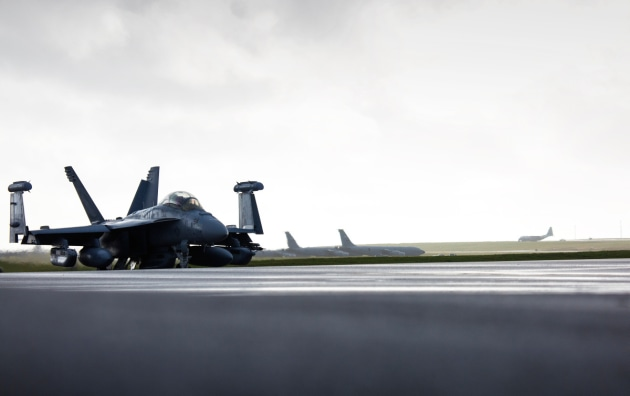 A US Navy EA-18G Growler taxis along the flight line. Growlers are a key EW asset for Australia and the US.