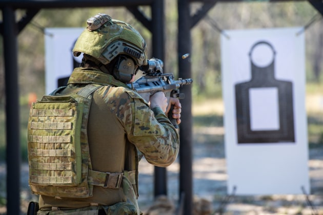 An Australian soldier at the shooting range at Greenbank Training Area.