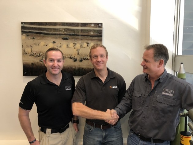 Grant Phillips, EPE Through Life Support Manager; Jeremy Martin, Managing Director HDT Australia; and Warwick Penrose, Director EPE. Credit: EPE