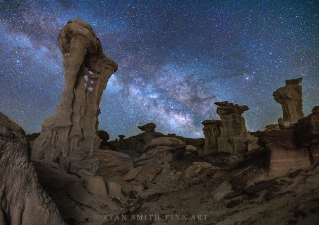 """Heavenly Throne"" – Ryan Smith. Southwest USA. I took this picture with the Canon EOS Ra; a mirrorless astrophotography camera that has a built-in infrared-cutting filter (positioned immediately in front of the CMOS imaging sensor), which permits approximately 4x as much transmission of hydrogen-alpha rays vs. standard digital cameras. This allows to capture more details of the night sky and the Milky Way, and really makes a difference in astrophotography."