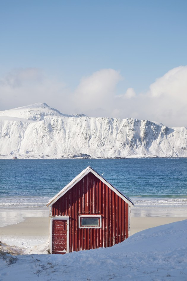 This red beach hut on Rambergstranda Beach in the Lofoten Islands stood out immediately as a subject that could work well on social media. Because the initial impact of red contrasts against the snowy mountains and blue sea, it's an inviting scene that makes you wonder what's inside. Olympus E-M1 Mark II, 40-150mm f/2.8 lens. 1/2500s @ f2.8, ISO 64. -0.7EV.