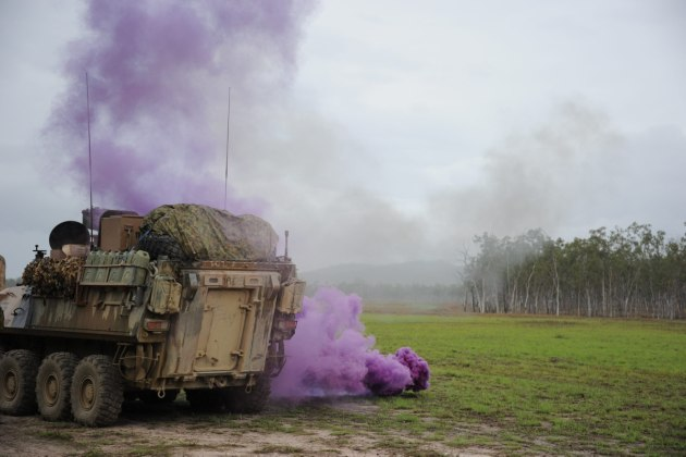 A simulated IED attack on an exercise at Shoalwater Bay.