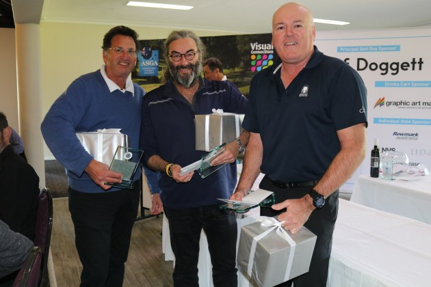 Keen competitors: at the ASGA/Visual Connections Golf Day in Sydney were (l-r) Rob Tunchon, John Wall, Marc Martello and Con Chronopolous.