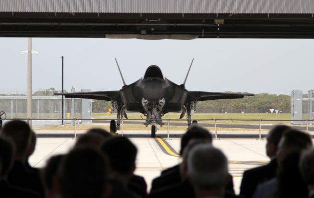 One of the RAAF's first F-35s sits on the flight line during the welcome ceremony.