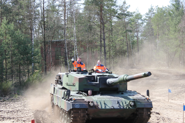 Nothing says fun like PPE in a tank on a German test range. (Katherine Ziesing)