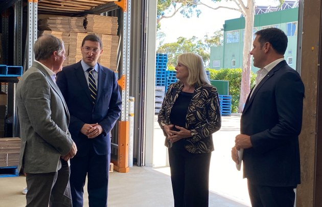 Proform Foods founder Stephen Dunn, Federal Member for Berowra Julian Leeser, Federal Minister for Industry, Science and Technology Karen Andrews, and Proform Foods CEO Matt Dunn.