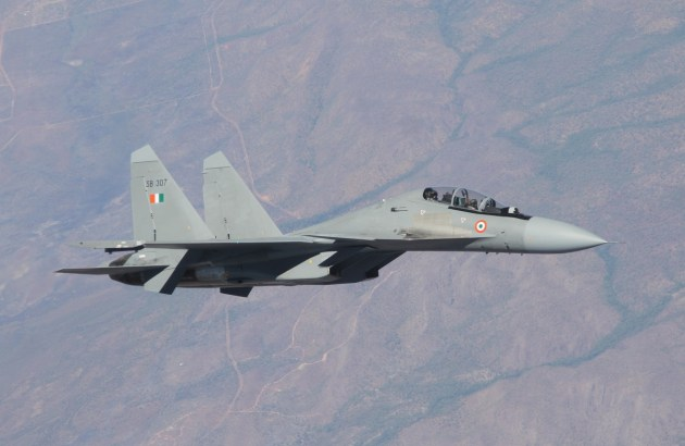 An Indian Sukhoi fighter over the NT. Nigel Pittaway