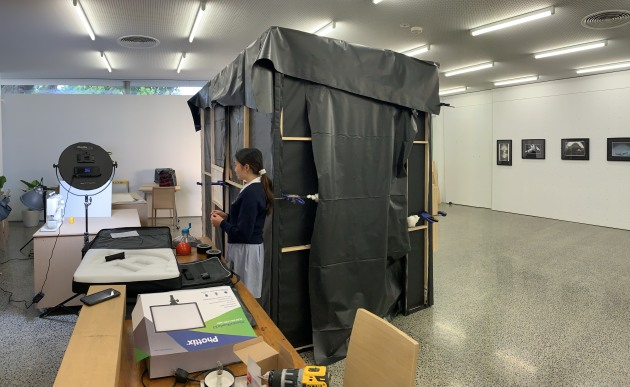 The camera obscura situated in the Fintona Girls' School art gallery