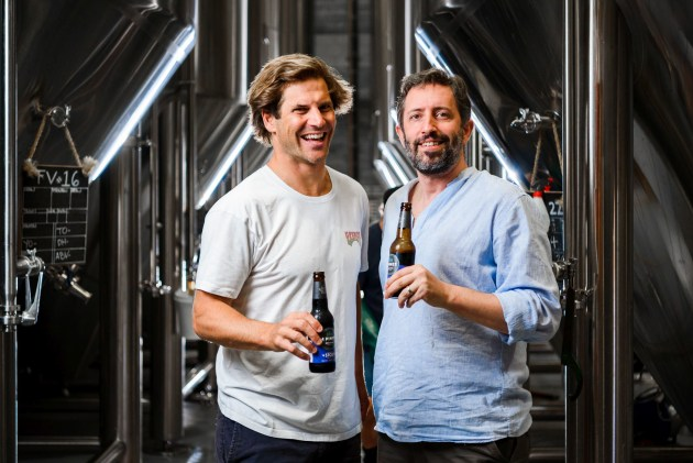 Jaron Mitchell from 4 Pines Brewing Company and Jason Held from Saber Astronautics.
