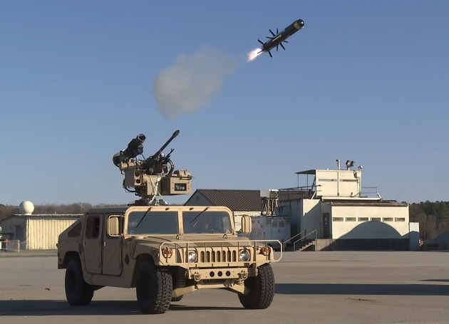 During the test, the team launched two Javelin missiles in between M230LF Bushmaster gun 30mm cannon fire volleys. (EOS)