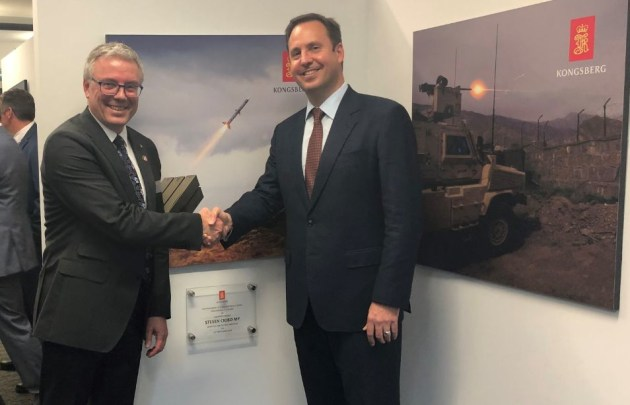 Minister for Defence Industry Steven Ciobo and Leiv Inge Steig, Executive Vice President Marketing and Business Development for Kongsberg.