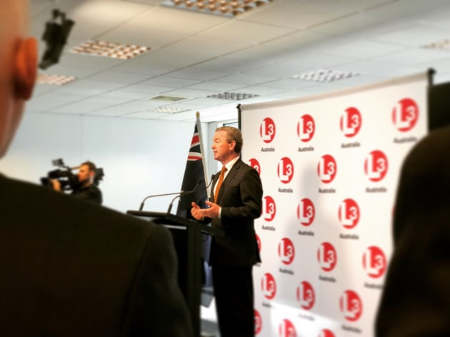 Chris Pyne opening L3's new office in Victoria. Credit: Chris Pyne via Twitter