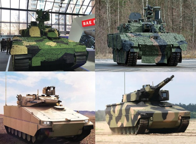 The four contenders for Land 400 Phase 3: BAE Systems 38-tonne CV90 IFV, General Dynamics 42-tonne Ajax IFV and BAE Systems 38-tonne CV90 IFV, Hanwha's 42-tonne K21 Redback tracked Infantry Fighting Vehicle (IFV), and Rheinmetall's 44 to 48-tonne Lynx IFV.