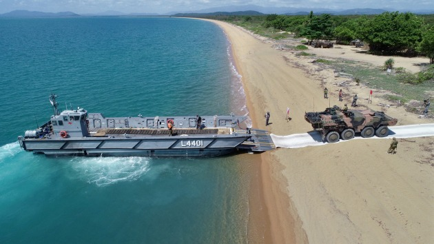 A Light Landing Craft is seen at Cowley Beach in Queensland.