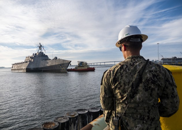 The future littoral combat ship USS Tulsa arrives in San Diego after completing its maiden voyage from the Austal USA shipyard.