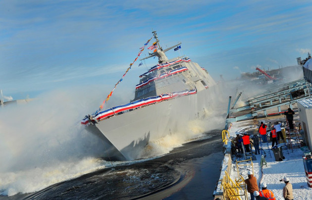 The Freedom-class USS Milwaukee (LCS 5) slides into the Lake Michigan at the Marinette shipyard in Wisconsin.