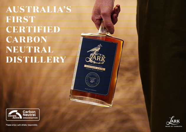 Tasmania's Lark Distilling Co has been recognised as Australia's first carbon neutral distillery, with its operations having no net negative impact on the climate.
