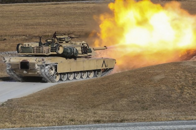 US Marines fire the main gun of an M1A1 Abrams tank during a training exercise at Camp Lejeune.
