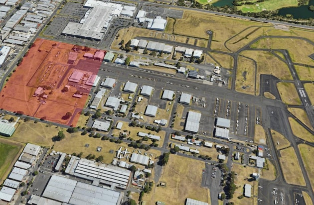 An aerial view of Moorabbin Airport showing the approximate area to be excised from the airside zone. (Google Earth image modified by Australian Flying)