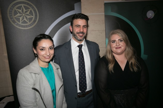 Rising stars: Christina Condos, Labelhouse (left) and Lisa Schumacher, Print 2 Metal (right) with Stephen Assimo, Media Super.
