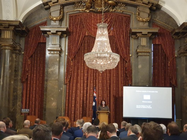 Minister Price speaking at Australia House in London ahead of DSEI. Credit: Paul Maddison (@PaulMaddison7) via Twitter
