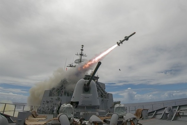 A live Harpoon missile firing from an Australian warship.