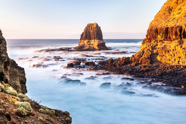 Mornington Peninsula NP Sunrise On The Pulpit – First light of day illuminates Pulpit Rock, Cape Schanck. Leaving home at 4am to catch sunrise here was well worth it, with only a few surfers nearby, I otherwise had the place to myself. Nikon D610, 50 mm f/1.4, 30.0 sec at f/2.8, ISO 100, tripod