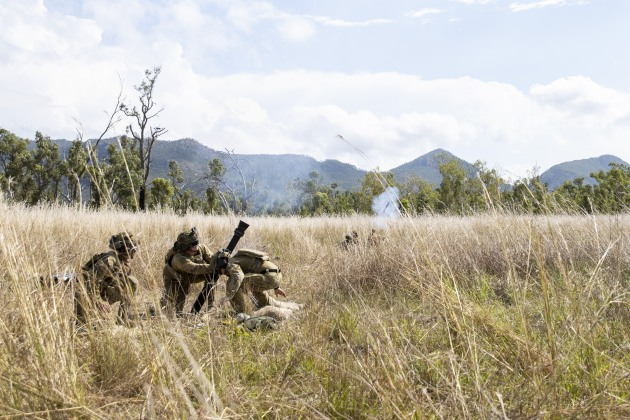 Soldiers fire an 81mm Mortar during Exercise Diamond Catalyst at Shoalwater Bay Training Area.