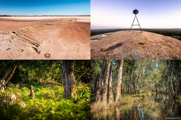 Clockwise from top-left: Murray-Sunset NP, Terrick Terrick NP, Gunbower NP, The Lakes NP