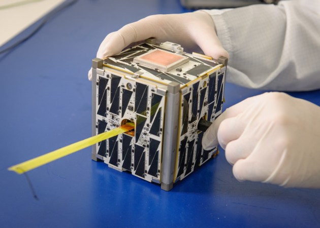 PhoneSat 2.5, a CubeSat built at NASA's Ames Research Center. Constructed using commercially available smartphones, PhoneSat 2.5 measures about four inches on each side.