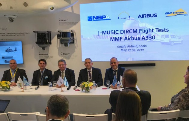 Denis Lizandier of OCCAR, Peter Dohmen of NATO, Didier Plantecoste of Airbus, and Sasson Meshar of Elbit Systems at the signing event.