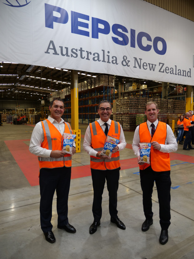 PepsiCo CEO Danny Celoni, SA Premier Steven Marshall, and SA Minister for Trade and Investment Stephen Patterson at the opening of Smith's $18m baked potato chip line at its Regency Park plant.
