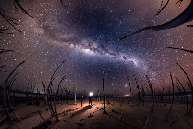 """Nightmare"" – Michael Goh. Dumbleyung Lake – Australia. Dumbleyung Lake is a salt lake located in western Australia. The lake is surrounded by hundreds of trees that have died due to the salt levels, and, on a calm night, all the stars reflect off the water. For this image, the dead trees gave me the idea of capturing them clawing up at the sky – the fish-eye panorama turned out better than expected, as the trees almost looked like tentacles. The location is very dark, so with no moonlight available, I used my self-portrait style with the figure holding the light (now a bit clichéd) to create more depth in the image as a solitary figure standing amongst the dead trees."