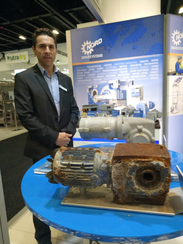 On show at Foodpro was NORD Drivesystems' NSD TupH, a lightweight alternative to stainless steel, which NORD Drivesystems has developed for its drive equipment deployed in harsh environments. Paint can easily release at very low stress levels, so the NSD TupH provides a base layer that is permanently bonded to the aluminum substrate for improved adhesion of the surface sealant. According to Martin Broglia, NORD's managing director, its sealed surface makes it particularly suitable for heavy-duty washdown operations typical in the meat processing sector, where it is currently being trialled.