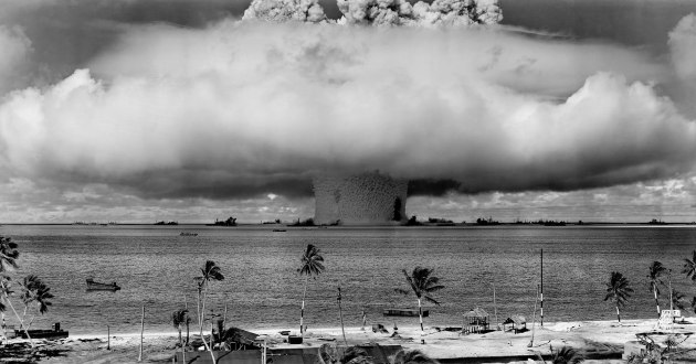 A US nuclear test at Bikini Atoll in the Marshall Islands.