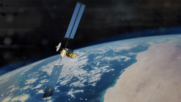 A concept image of a OneSat satellite deployed in space.