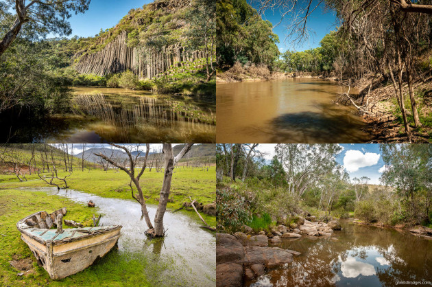 Clockwise from top-left: Organ Pipes NP, Lower Goulburn NP, Chiltern-Mount Pilot NP, Lake Eildon NP