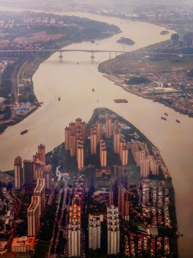 Guangzhou's Pearl River, China, on a flight from Melbourne to Guangzhou.