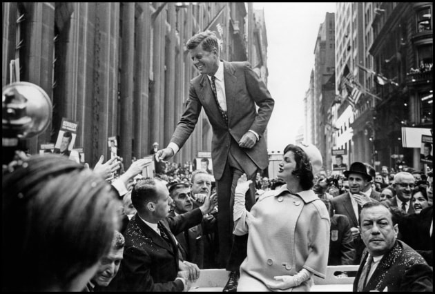 "© Cornell Capa/Magnum Photos.  John F. Kennedy campaigning. NYC, USA. 1960. ""Images at their passionate and truthful best are as powerful as words can ever be. If they alone cannot bring change, they can at least provide an understanding mirror of man's actions, thereby sharpening human awareness and awakening conscience."""