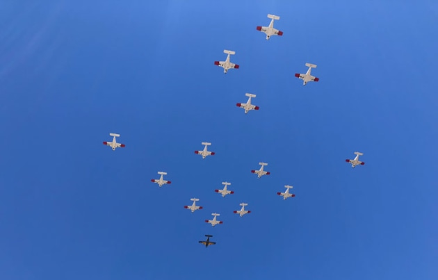 A very impressive sight as the formation cruises over the airport.