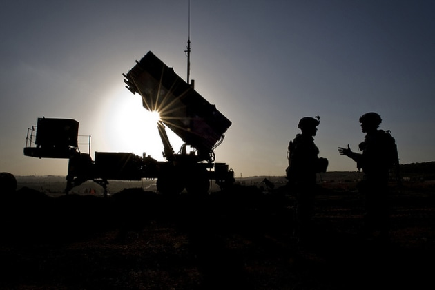 US soldiers talk after a routine inspection of a Patriot missile battery.
