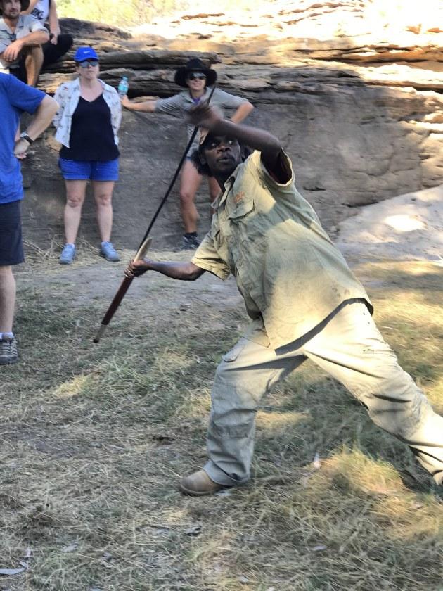 Our guide on the East Alligator River showed us how to throw spears.