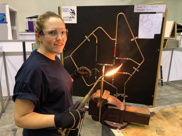 27-year-old plumbing apprentice Justine Clements at work.