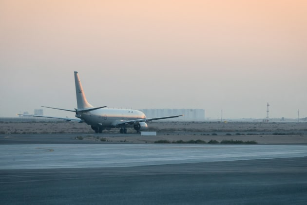 The P-8A Poseidon taxis for take-off on a mission at Australia's main operating base in the Middle East.