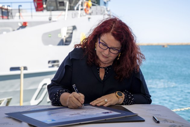 Minister for Defence Industry Melissa Price at the handover of a Guardian class patrol boat.