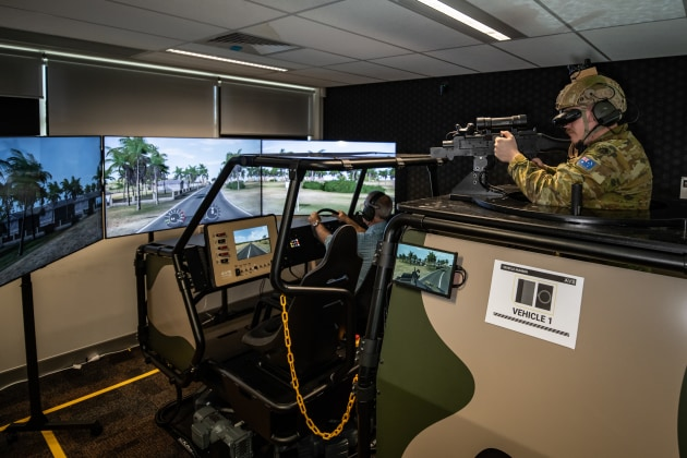 Forces Command personnel test the new tactical protected mobility training system at the Combat Simulation Center, Barracks Gallipoli, Enoggera.  (Defense)