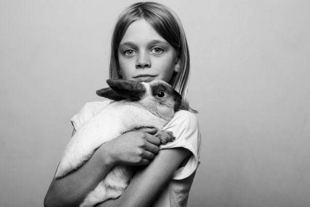 "Holly and Pebbles, 2018, by Chris Riordan. ""They say 'never work with kids or animals' ... but then you miss out on the best stuff! This is my daughter Holly and her rabbit 'Pebbles'."""