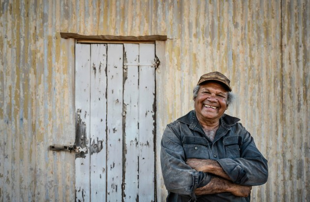 "Lenny, 2019, by Karen Waller. ""Lenny Willis was born in the Tarcoola hospital in 1956. His mother, Gracie, a Yankunytjatjarra woman, married his father, Tommy, the son of Irish immigrants. With his ten siblings, Lenny lived on Bon Bon Station until the late 1960s. Today, Lenny lives in Kingoonya and works on Wilgena Station as a contract musterer. In this harsh outback environment in the north of South Australia, I discover in him a warmth and generosity of spirit."""