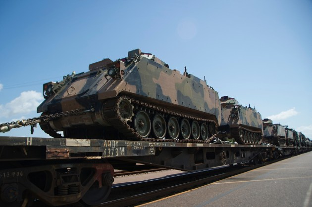 1st Combat Engineer Regiment M113AS4 armoured personnel carriers await rail freight to Port Augusta from Darwin.